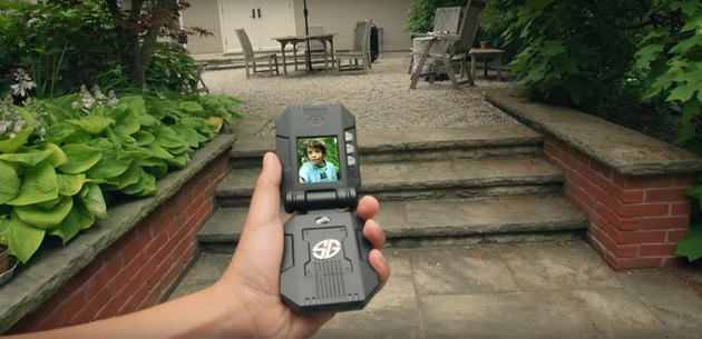 Photo of a Spin Master Spy Gear Video Walkie Talkie in use.