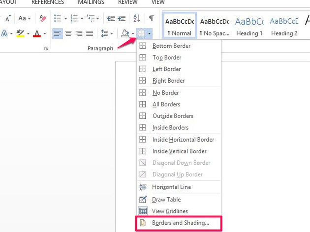Use the Borders and Shading menu to create page borders.