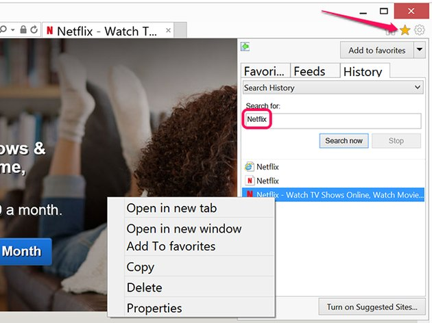 Delete Netflix entries in IE from the History tab.