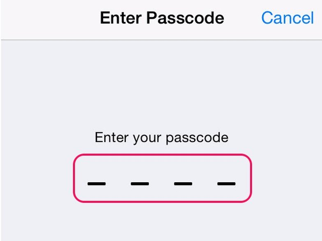 Enter your passcode to proceed to the next screen.