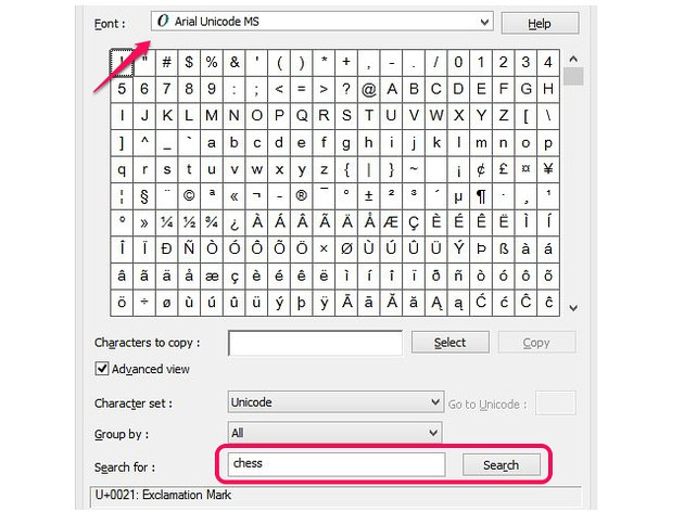 Search for chess symbols in a font.