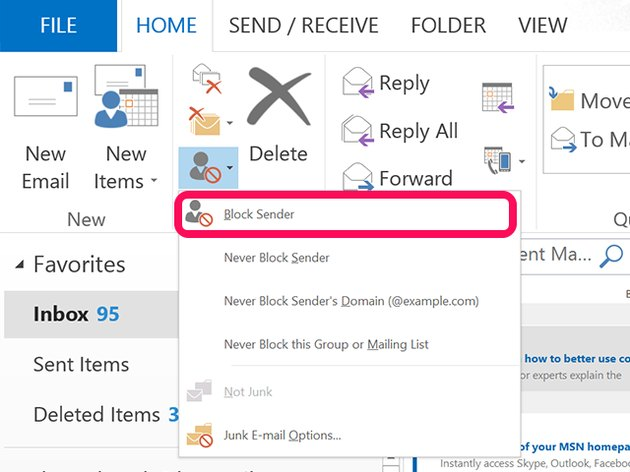 Select Block Sender to send future emails directly to the Junk folder.
