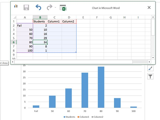 Populate columns A and B with your data.