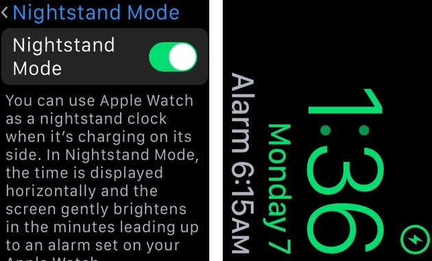 apple watch settings nightstand