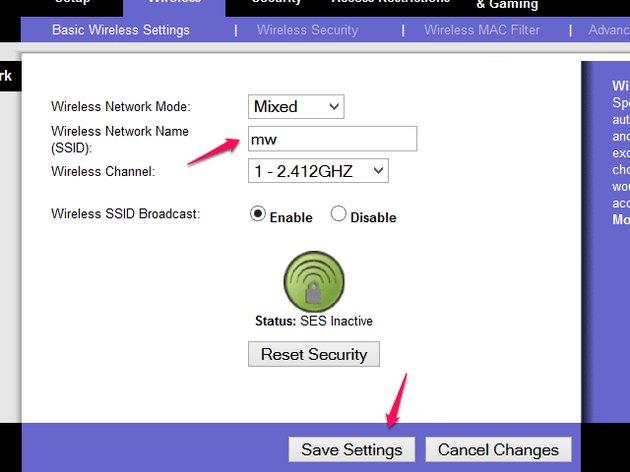 Basic Wireless Settings page.