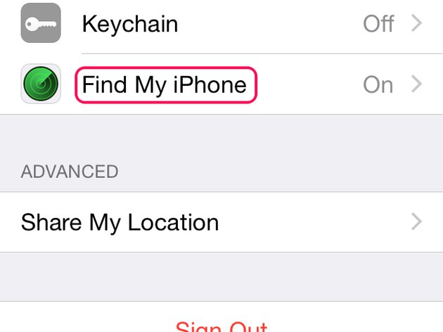 Find My iPhone setting