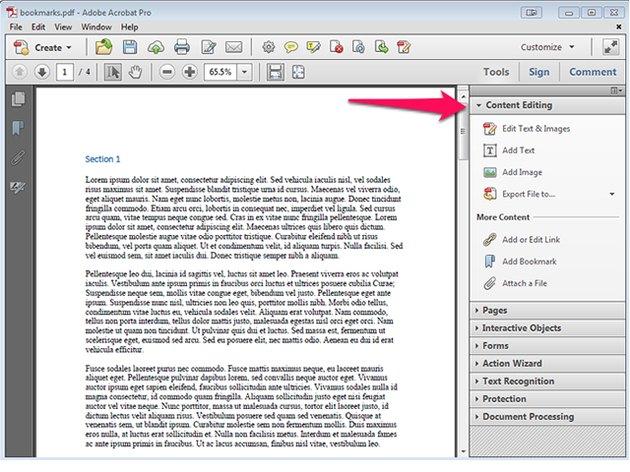 Content Editing in Acrobat Pro.