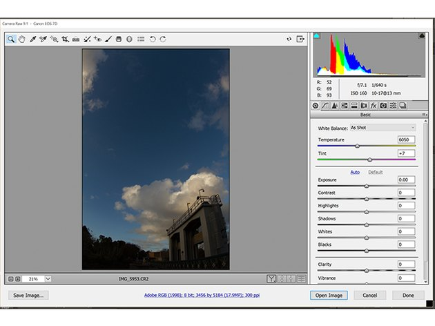 A CR2 file opened in Adobe Photoshop CC.