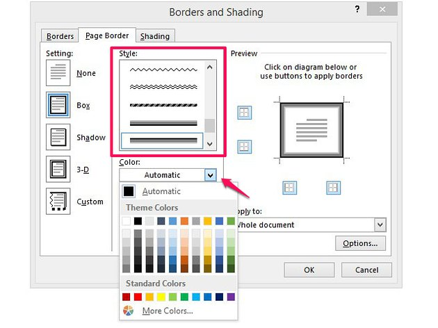 Choose a border color from standard colors or themes.