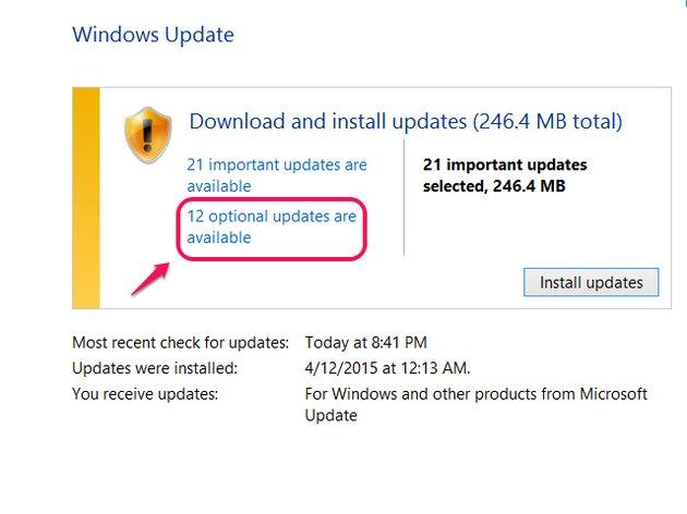 Windows Update showing optional updates