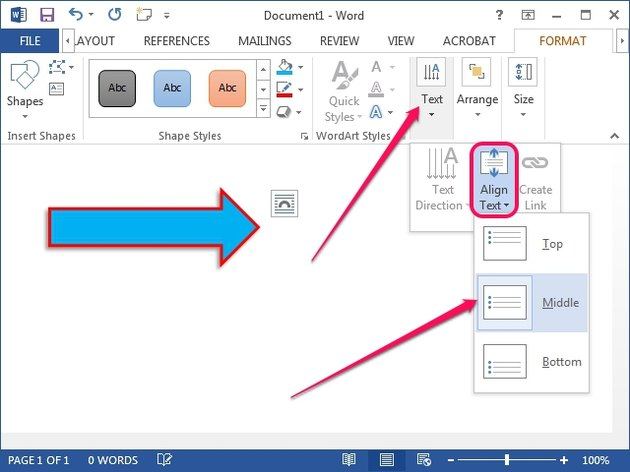 The Align Text menu in Word 2013.