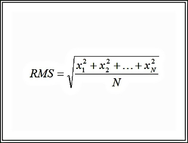 The Root Mean Square (RMS) finds the square root of the average of the square of each number in a set.