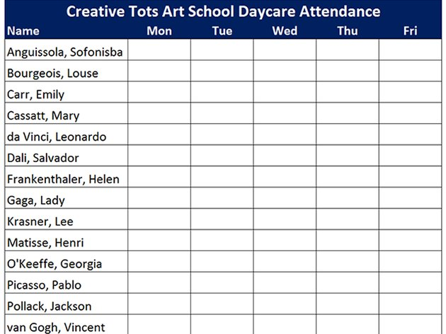 A completed attendance report.