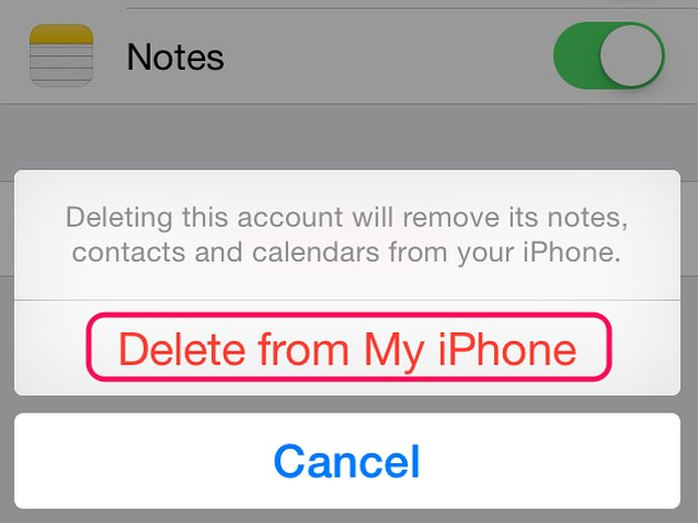 Tap Delete From My iPhone to confirm account removal.