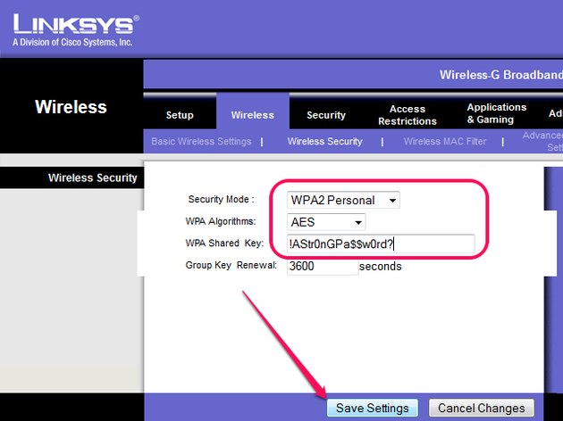 The wireless security settings in the Web interface.