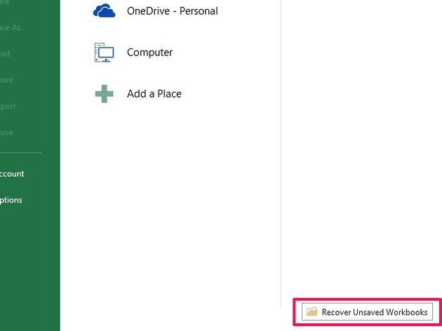 Excel may store deleted files in an unsaved files folder