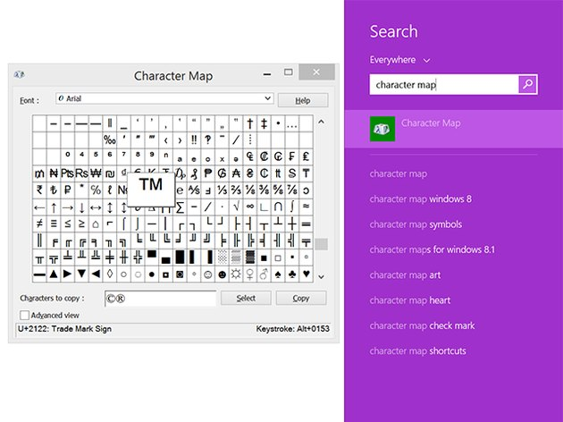 Windows Character Map.