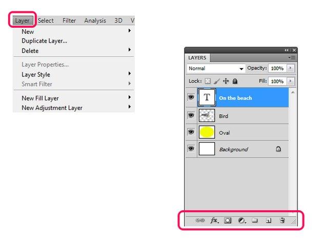 Layer menu and Layer panel