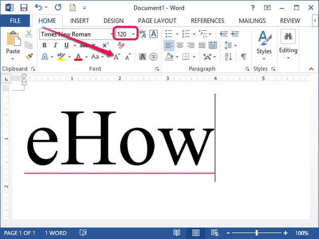Word 2013 supports manual font size adjustments from the ribbon.