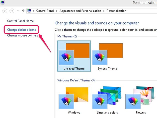 The Personalization window has the option to change your Windows theme.