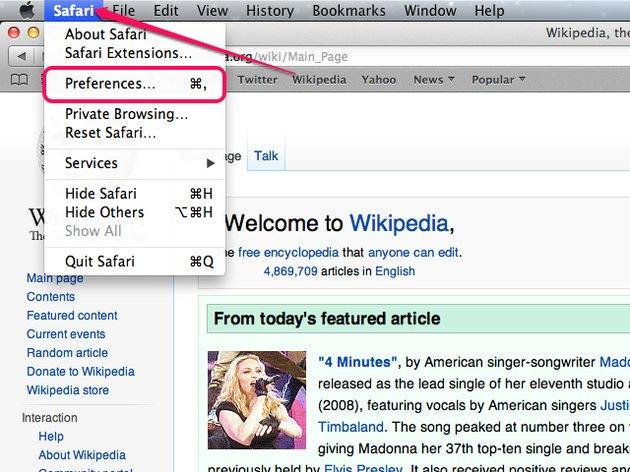 The Safari menu in Mac OS X.