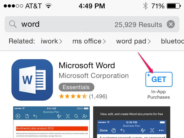 Install the Word app.