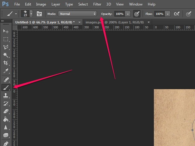 The Photoshop interface, showing the Tools bar and the Options bar.