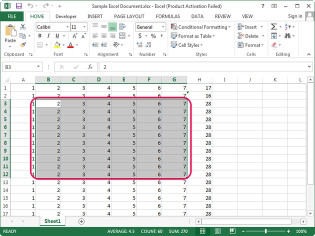 Selecting the data in an Excel spreadsheet.
