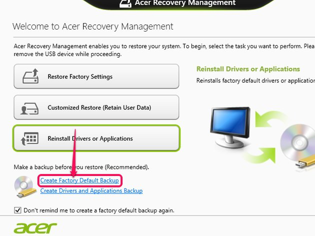 Acer Recovery Management.