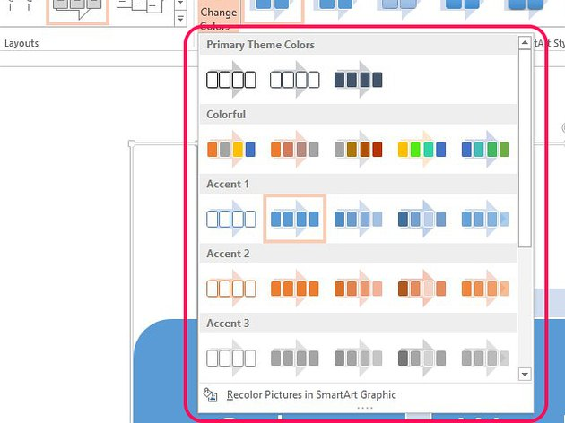 Select a new color theme from the Change Colors menu.