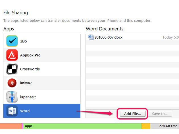 Add a file to Word.
