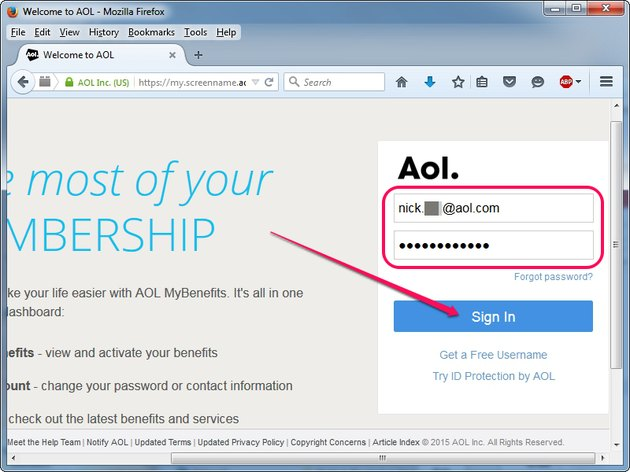 Logging in to the My Account page on AOL.