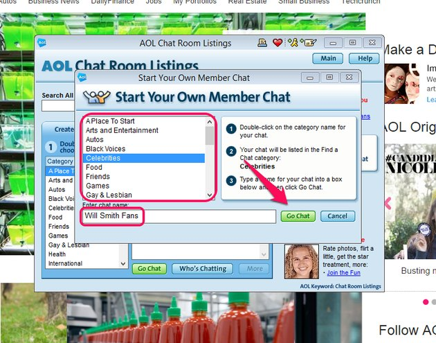 Double-click a category, enter a room name and click Go Chat.