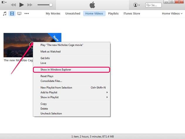 Selecting Show In Windows Explorer in iTunes.