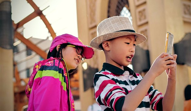 Kids using phones