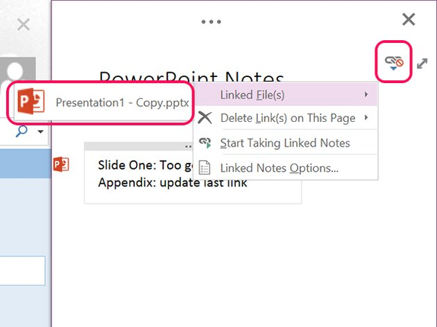 Click the PowerPoint icon to open the linked file.