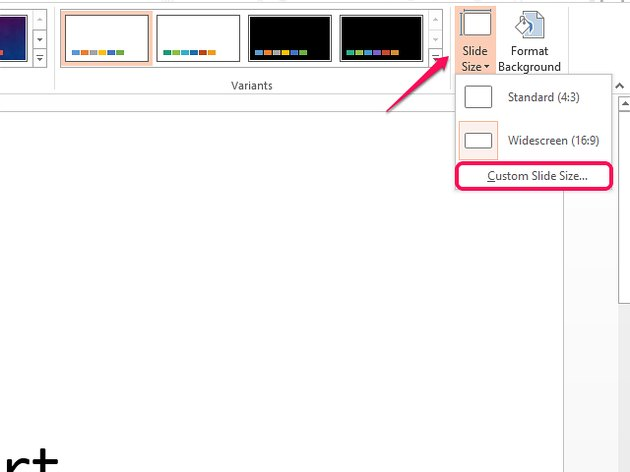 Select Custom Slide Size to customize numbering on slides.