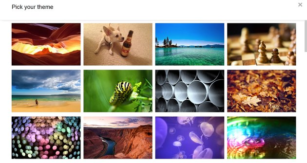 In Themes you'll see an assortment of backgrounds to choose from.