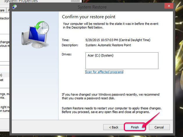 The System Restore confirmation page, with Finish highlighted.