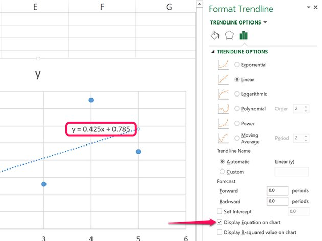 Click the Display Equation on Chart check box.