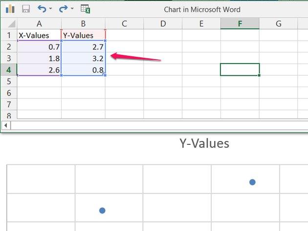 Sample scatter plot spreadsheet.