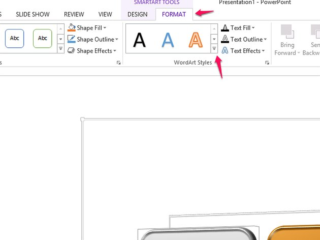 Use the down arrow on WordArt Styles to open its menu.