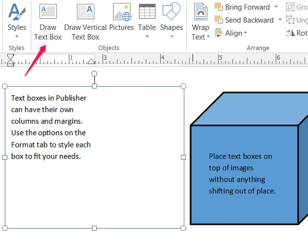 Place text and images in Publisher.