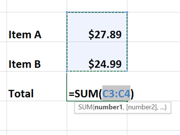 Excel's AutoSum is adding two numbers.