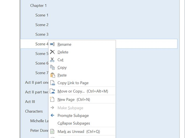 Right-click the page menu to organize pages.