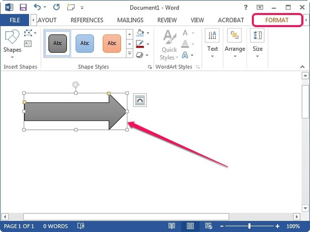 A sample block arrow in Word 2013.