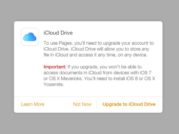 The Upgrade to iCloud Drive dialog box.