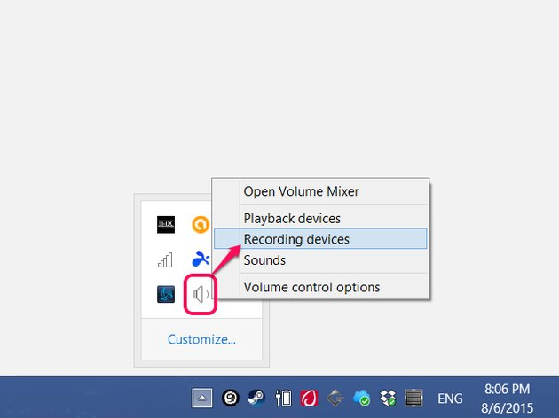 Click the arrow on the taskbar to show hidden icons.
