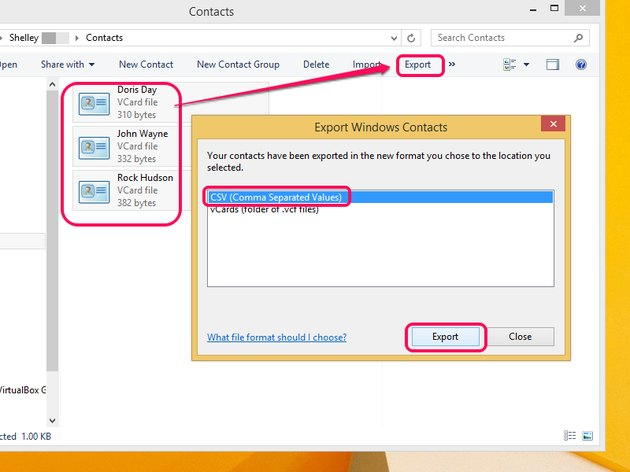 Export Windows Contacts dialog