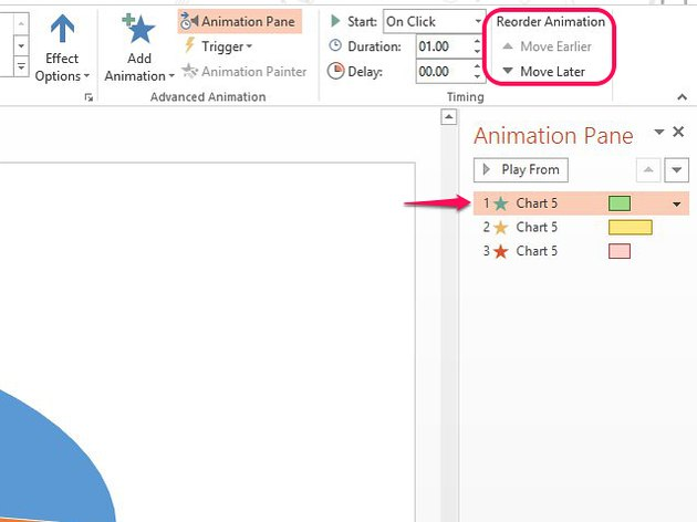 Use Reorder Animation to move effects up and down in the list.
